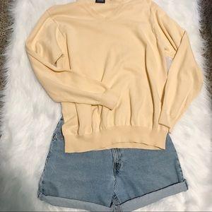 Cozy Yellow Varsity Sweater 100% cotton size Large